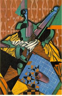 Photograph of Violin and Checkerboard - Juan Gris