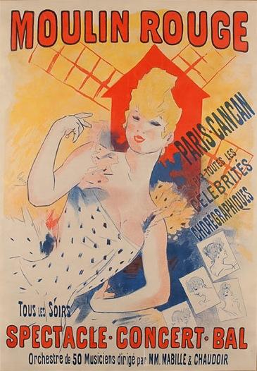 Moulin Rouge, Paris, Cancan, 1890 - Jules Cheret