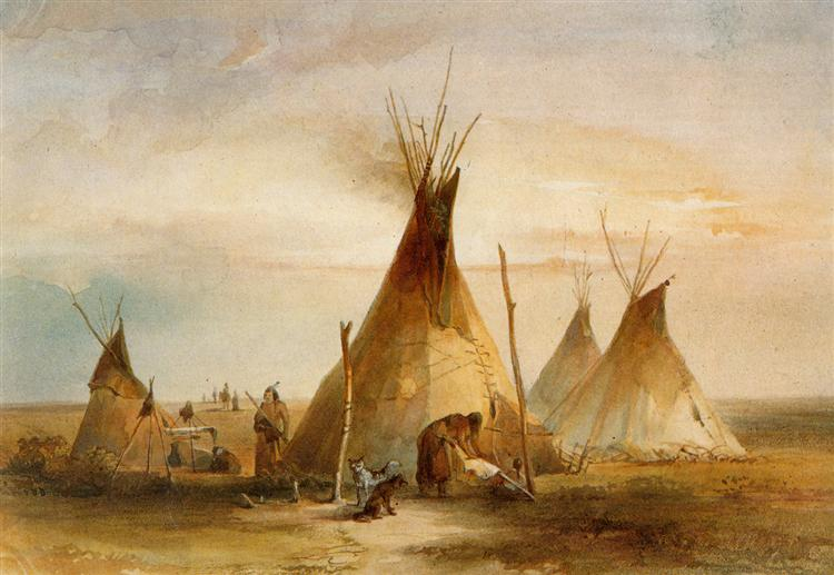 Sioux teepee from Volume 1 of 'Travels in the Interior of North America', 1833 - Karl Bodmer