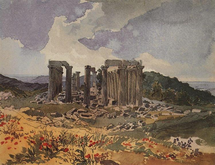 Temple of Apollo in Phigalia, 1835 - Karl Bryullov