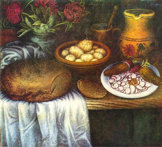 """Still life """"Breakfast"""", 1950 - Kateryna Bilokur"""