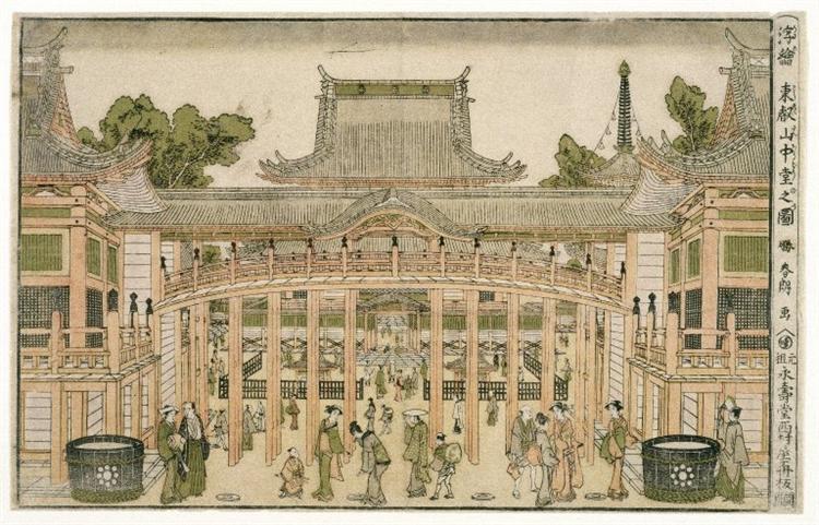 Inside the Courtyard of the Toeizan Temple at Ueno, 1786 - Katsushika Hokusai
