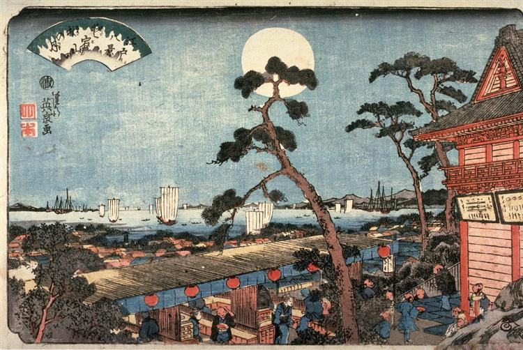 Autumn Moon over Atago Hill (Atagosan no aki no tsuki) from the series Eight Views of Edo, 1846 - Keisai Eisen
