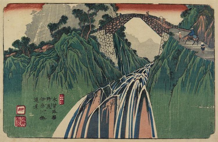 No.41 Distant View of Kanagawa Bridge near Nojiri Station, 1844 - Кейсай Эйсен
