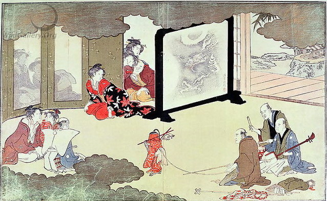 A monkey trainer performing at a noblemans house,, c.1788 - Kitagawa Utamaro