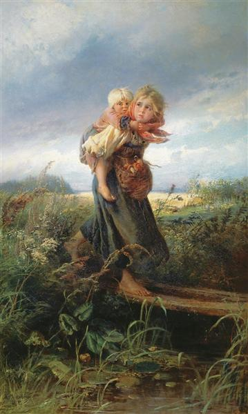 Children running from a Thunderstorm - Konstantin Makovsky
