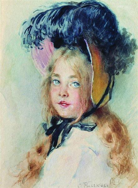 Girl with Hat - Костянтин Маковський