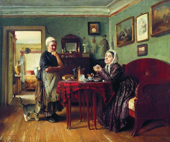 Household Conversation, 1868 - Konstantin Makovsky