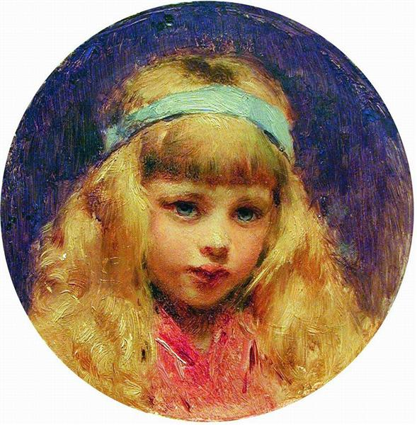 Portrait of the Girl with a Blue Ribbon in a Hair, c.1890 - Konstantin Makovsky