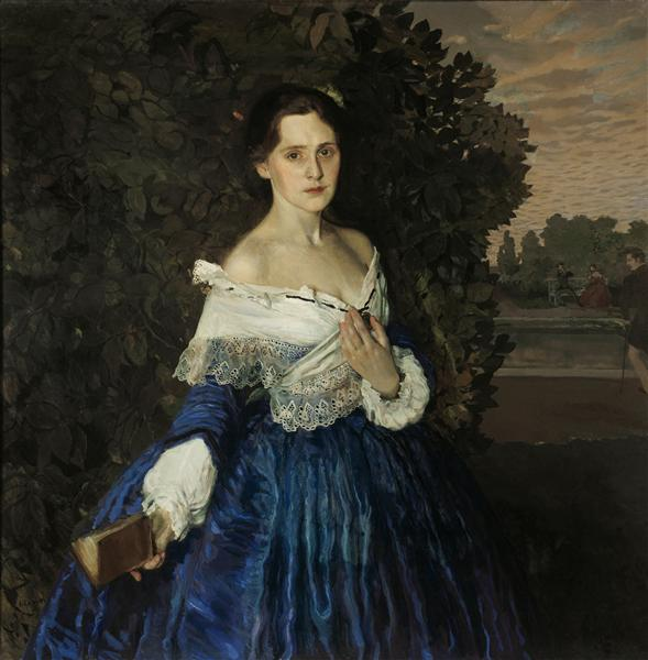 Lady in Blue. Portrait of the Artist Yelizaveta Martynova, 1897 - 1900 - Konstantin Somov