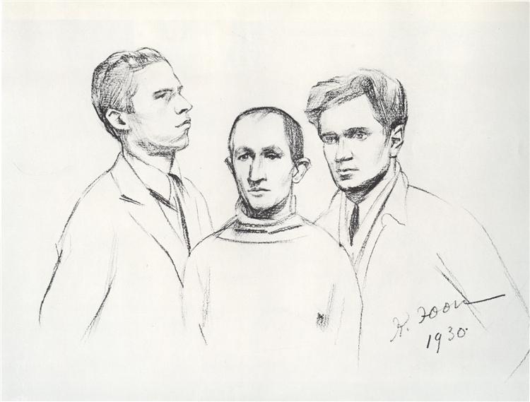 Portrait of Three painters (Kukriniksi). M.V. Kupriyanov, P.N. Krilov, N.A. Sokolov, 1930 - Konstantin Yuon