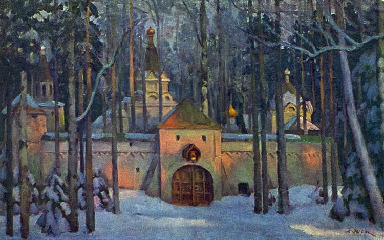 "Set Design for Glinka's opera ""Ivan Susanin"". Monastery in the forest, 1945 - Konstantin Yuon"