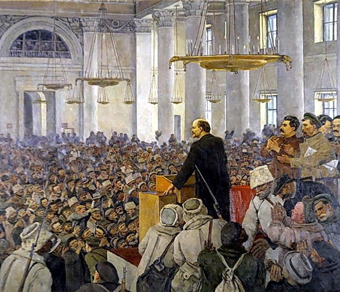 The first speech of Vladimir Lenin in the Smolny. Late version of the picture in 1927, 1935 - Konstantin Yuon