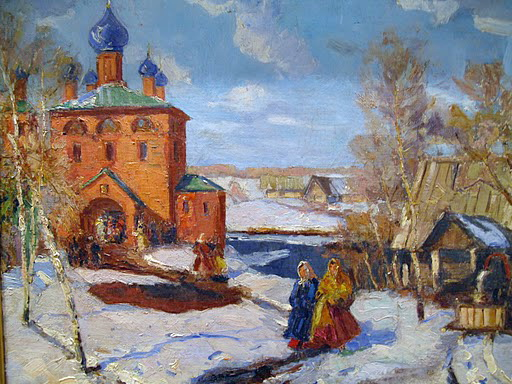 Winter. Landscape with The Red Church - Konstantin Yuon