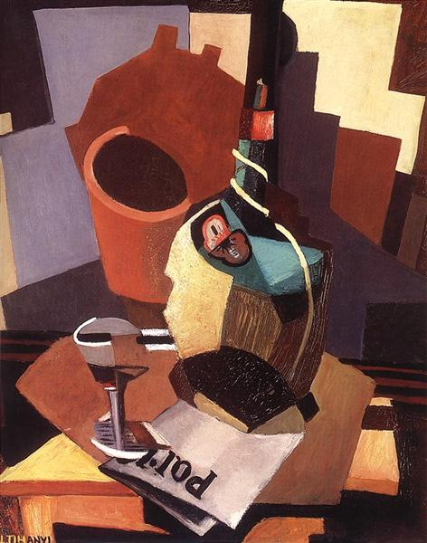 Still-life with Bottle and Glass, 1928 - Lajos Tihanyi