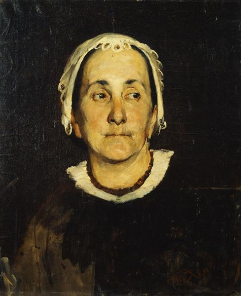 Portrait of lady wearing white cap - Polychronis Lembesis