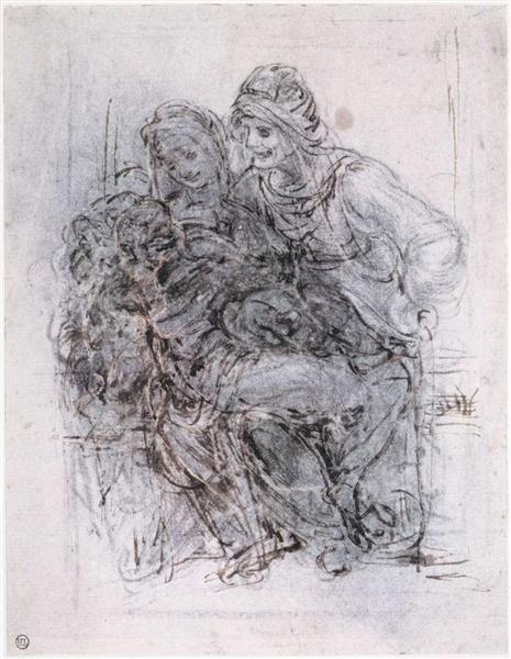 Study of St Anne, Mary and the Christ Child, c.1503 - Leonardo da Vinci