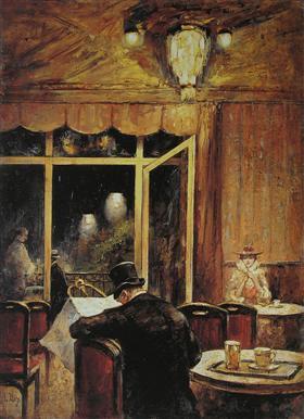 Abend im Café Bauer - Lesser Ury