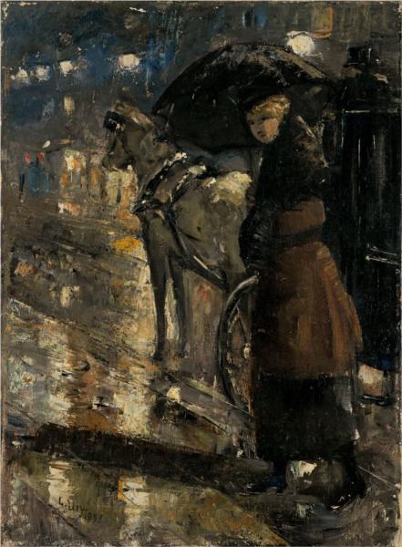 Frau und Droschke, 1899 - Лессер Ури