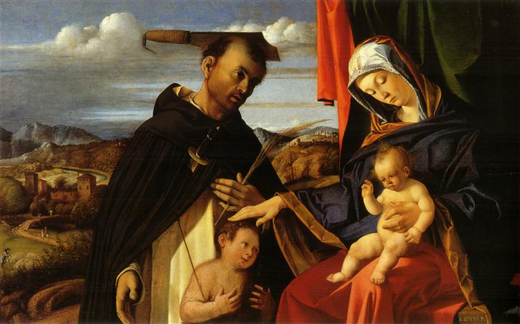 Madonna and Child with Saint Peter Martyr, 1503 - Лоренцо Лотто