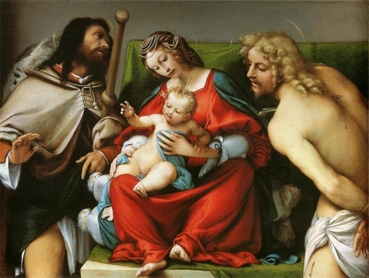 Madonna with St. Roch and St. Sebastian, c.1522 - Lorenzo Lotto