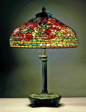 Library lamp. Peony design - Louis Comfort Tiffany