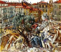 Building under Construction in Monte Carlo - Lovis Corinth