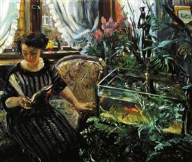 Woman by a Goldfish Tank - Lovis Corinth