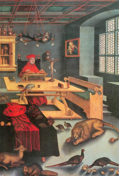 Albrecht of Brandenburg as St. Jerome in his study, 1526 - Lucas Cranach der Ältere