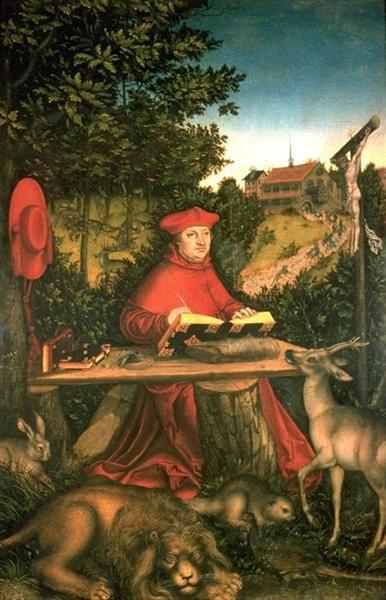 Albrecht of Brandenburg as St. Jerome in his study, 1527 - Lucas Cranach der Ältere