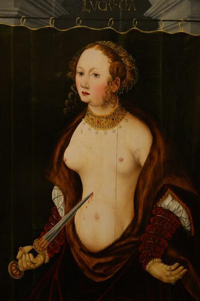 Lucretia committing suicide., c.1550 - Лукас Кранах Старший