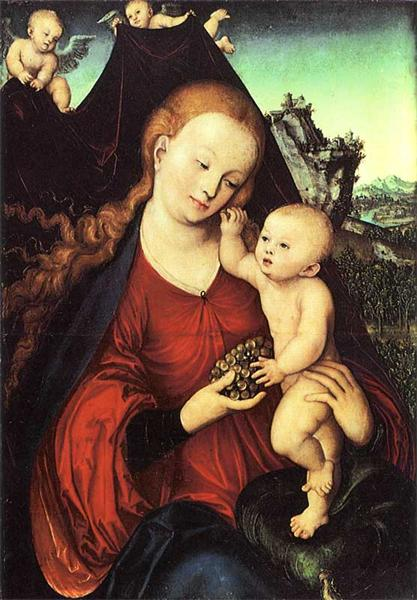 Madonna and Child with a Bunch of Grapes, 1525 - Lucas Cranach der Ältere