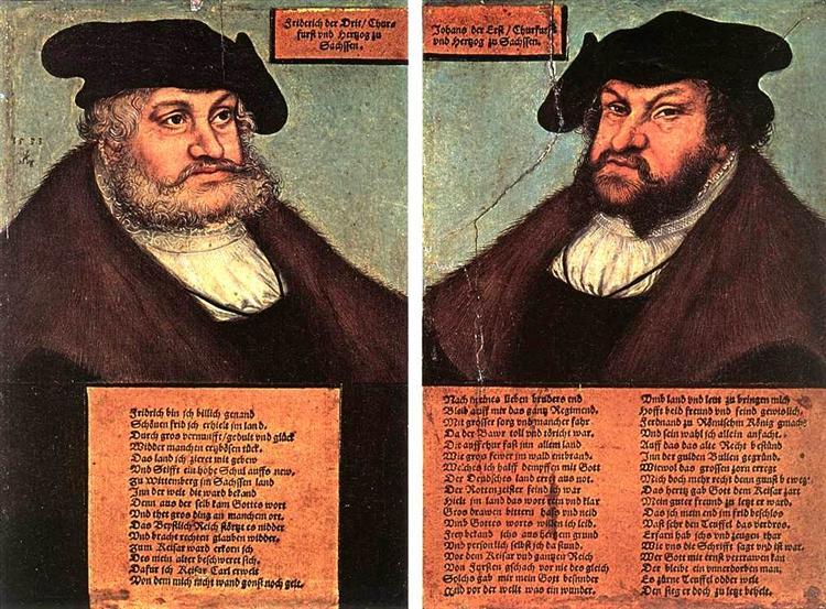 Porträts von Johann I und Friedrich dem Weisen, Kurfürsten von Sachsen, 1533 - Lucas Cranach der Ältere