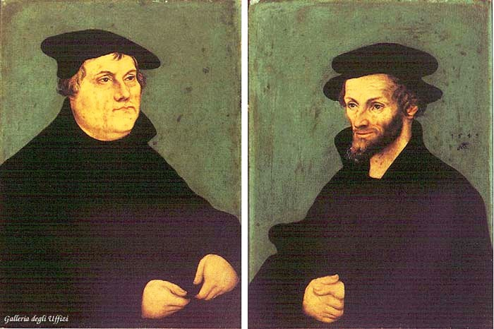 Portraits of Martin Luther and Philipp Melanchthon, 1543 - Lucas Cranach el Viejo