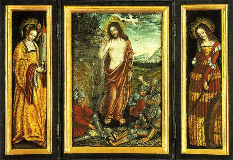 Small winged altar with the Resurrection of Christ, St. Barbara (Left Wing) and St. Catharine (right Wing), 1508 - 1510 - Lucas Cranach der Ältere