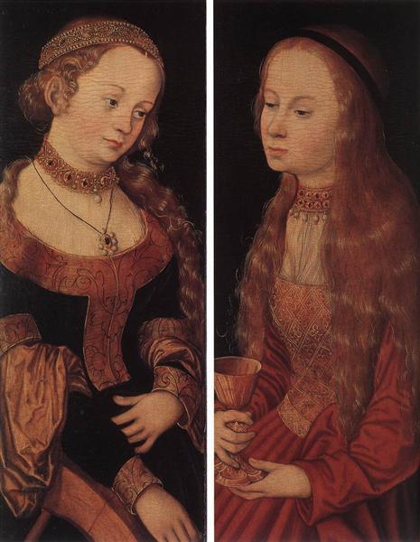 St. Catherine and St. Barbara - Lucas Cranach der Ältere