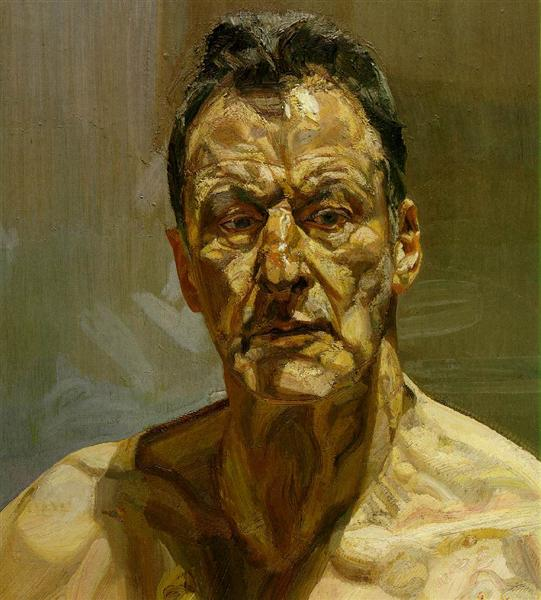 http://www.wikiart.org/en/lucian-freud/reflection-self-portrait-1985
