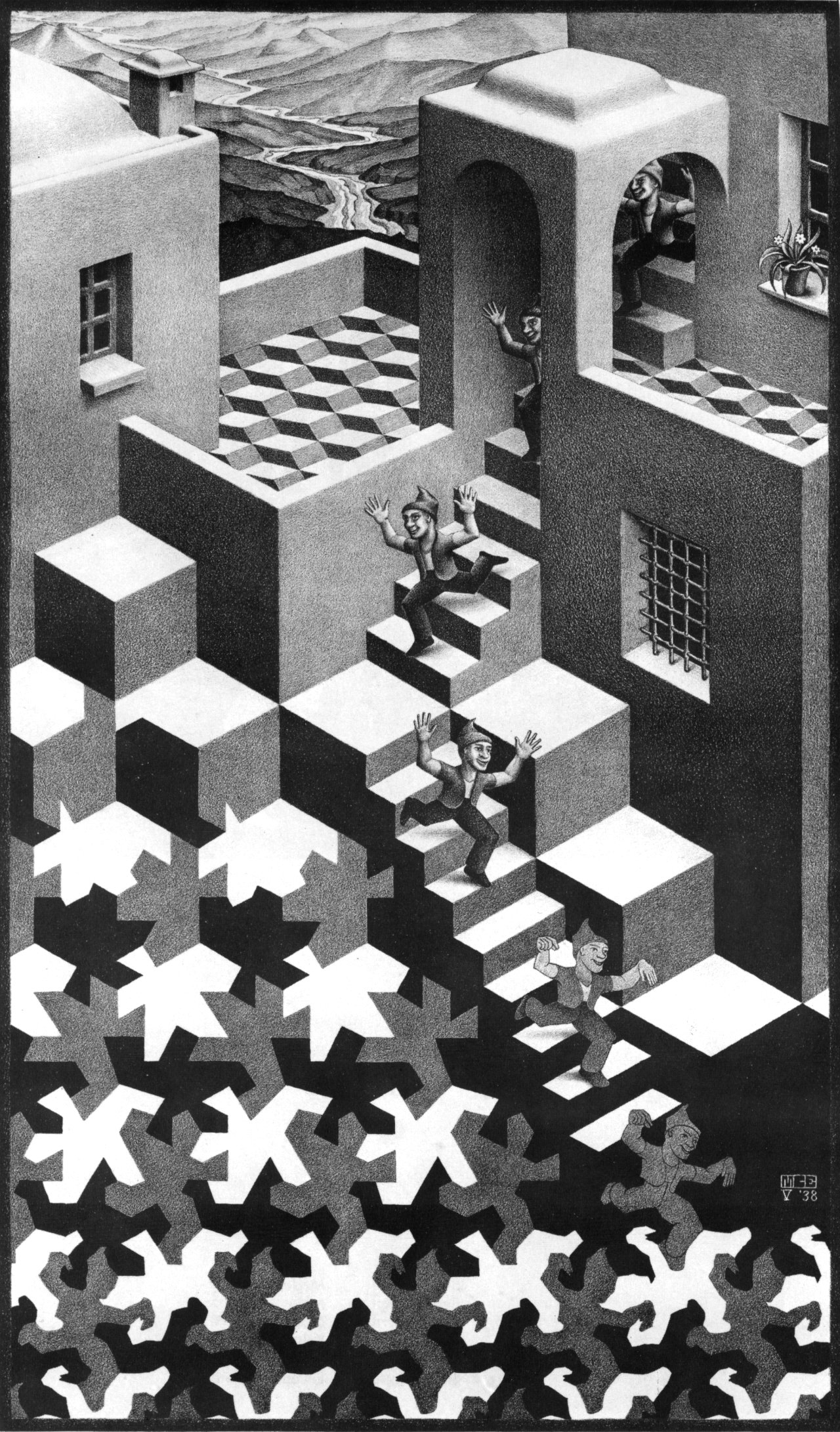 mc escher art work and his Maurits cornelis escher (1898-1972) is one of the world's most famous graphic artists his art is enjoyed by millions of people all over the world, as can be seen on.