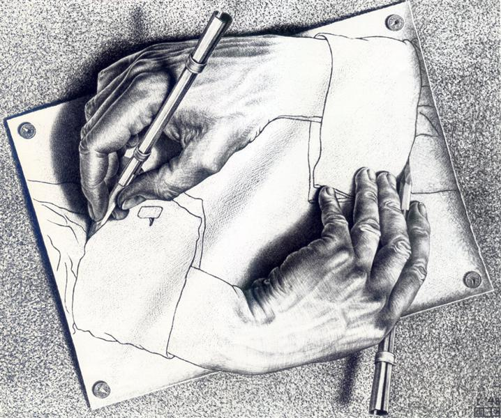 Drawing Hands, 1948 - M.C. Escher