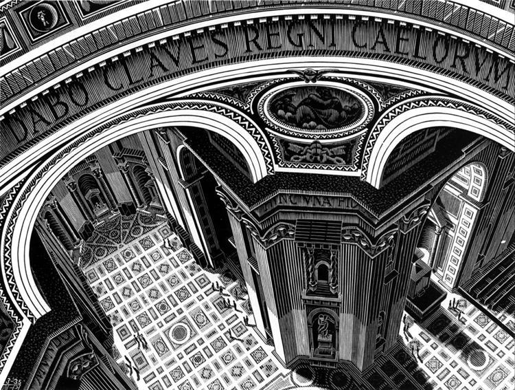 Inside St. Peter's, Rome, 1935 - M.C. Escher