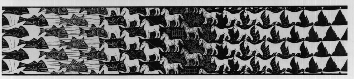 Metamorphosis iii excerpt 5 1967 1968 m c escher for Escher metamorfosi