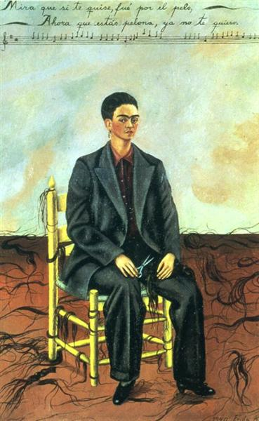 Self Portrait with Cropped Hair, 1940 - 芙烈達.卡蘿