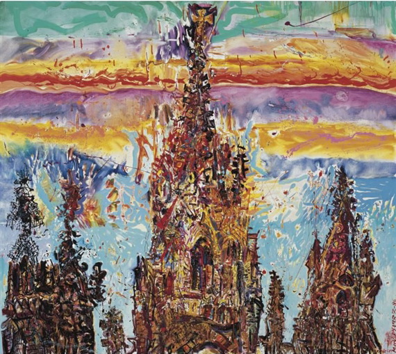 Barcelona Cathedral as a Blood Red Orange, 1986 - Malcolm Morley
