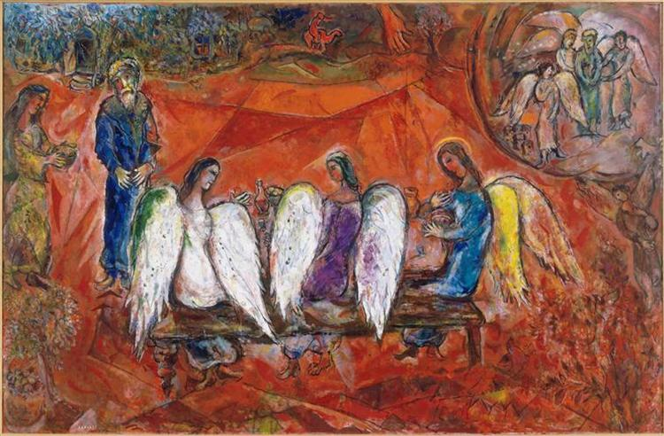 Abraham and three Angels, 1966 - Marc Chagall