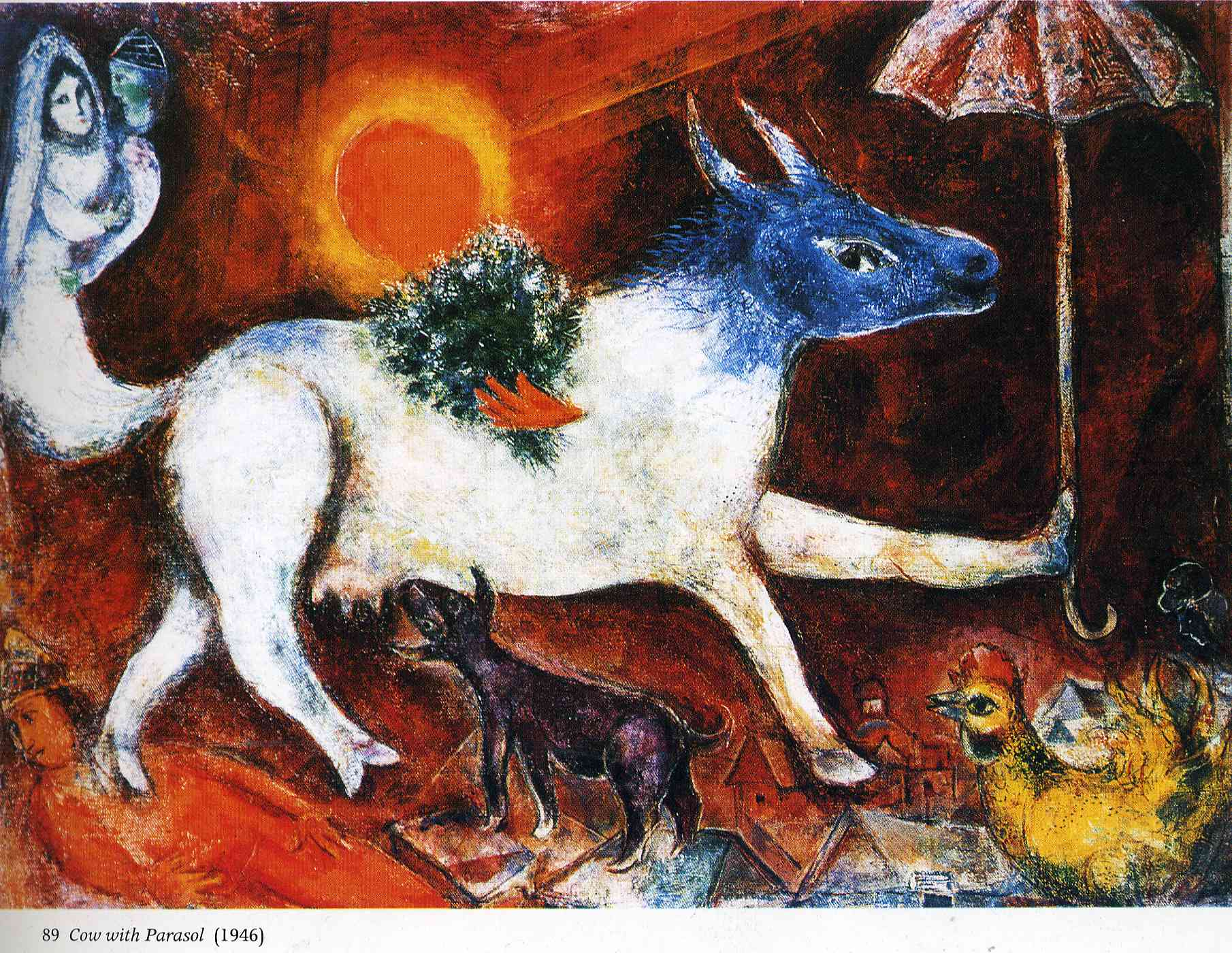 cow with parasol 1946 marc chagall. Black Bedroom Furniture Sets. Home Design Ideas