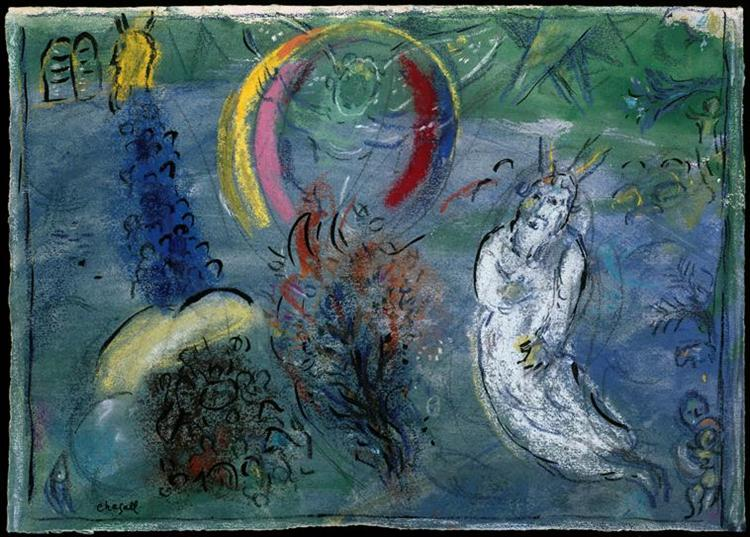Moses with the Burning Bush, c.1963 - Marc Chagall