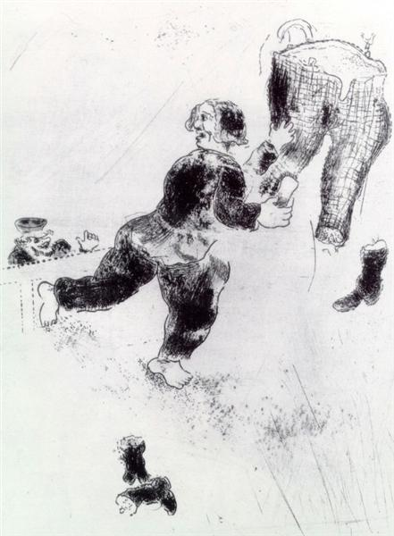 Selifan interrupts Petrouchka cleaning, c.1923 - Marc Chagall