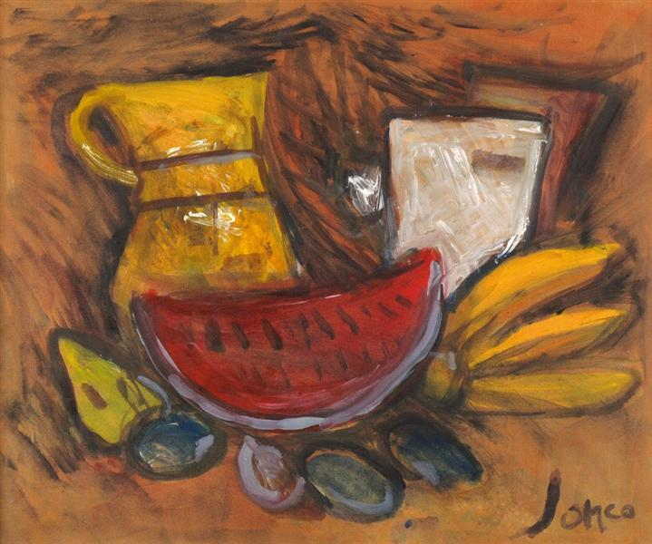 Fruit and Dishes on the Table - Marcel Janco