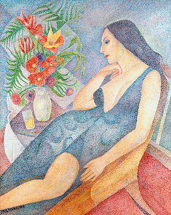 Marika with a bouquet of flowers, 1970 - Marevna (Marie Vorobieff)
