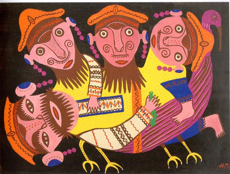 Four Drunkards Riding a Bird, 1976 - Maria Primachenko